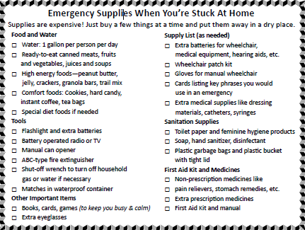 List of emergency supplies when you're stuck at home