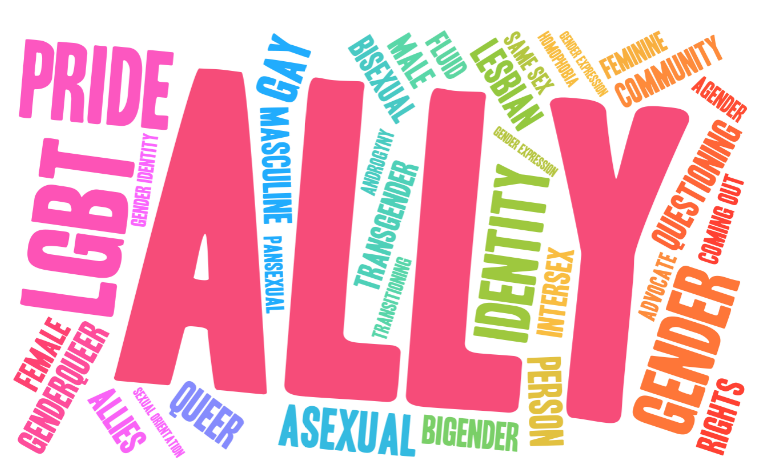 """Word cloud of LGBTQ words. The biggest word reads """"ALLY""""."""