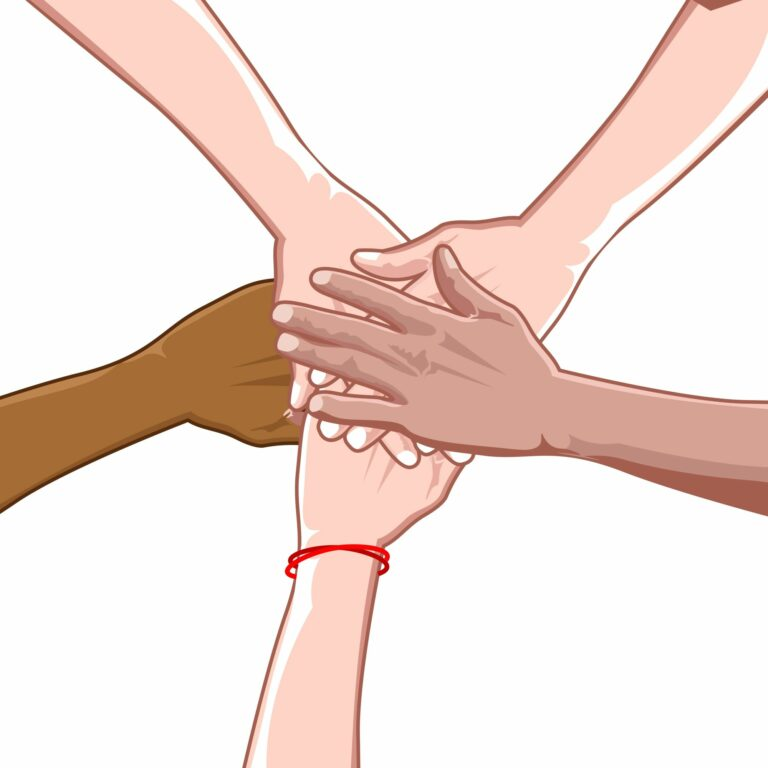 Diverse group of hands on top of one another
