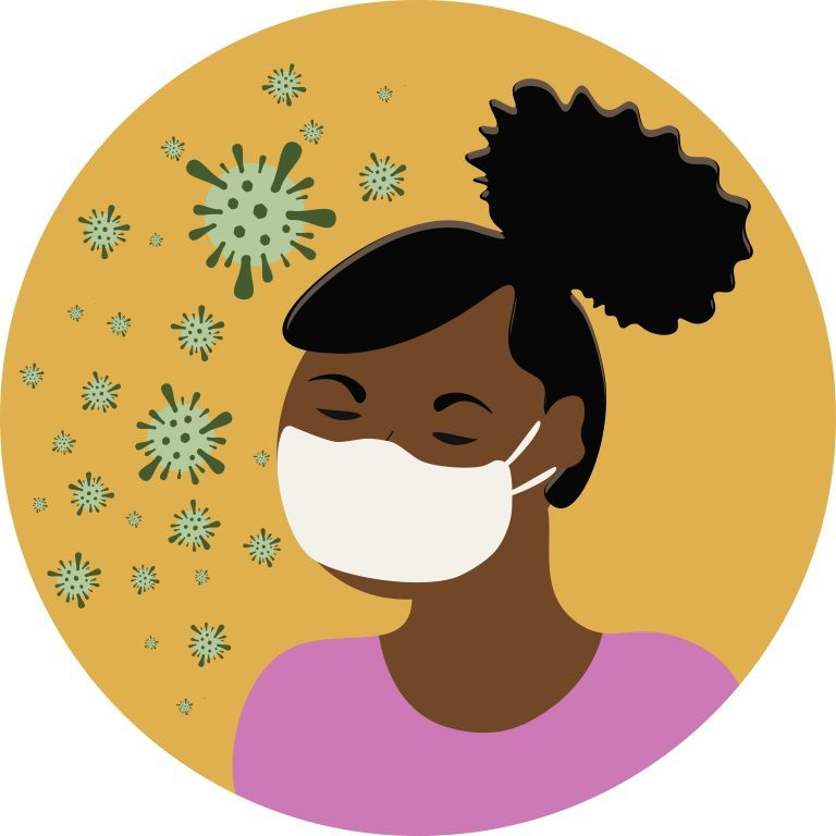 An illustration of a person wearing a mask, surrounded by circles that represent Coronavirus