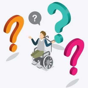 An illustration of a person in a wheelchair with multicolored checkmarks surrounding them. The persons arms are raised in question.